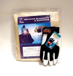 Steiner STICOMBO-TG-46 ToughGuard Tan Heat Cleaned Fiberglass, Light Duty Welding Blanket w/ Ironflex Gloves, 5Pk
